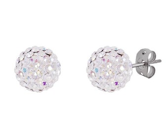 f7cbccae3 Pair 8mm /10mm Handmade Crystal Bead Pave Disco Ball Silver Earrings Studs  --Two colors white (white AB)