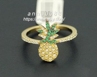 Monaco Fine Jewelry Sterling Silver in Yellow Silver ARC-EN-CIEL Pineapple  Ring With Zirconia Stones Ring Women Jewelry e7b9cba84e
