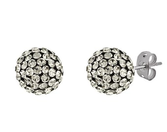 Argent Gray Pair 8mm 10mm Handmade Crystal Bead Pave Disco Ball Silver Earrings Studs