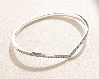 Square Bangle Bracelet 925 Sterling Silver Latch Hook Curved Hinged Gift NEW
