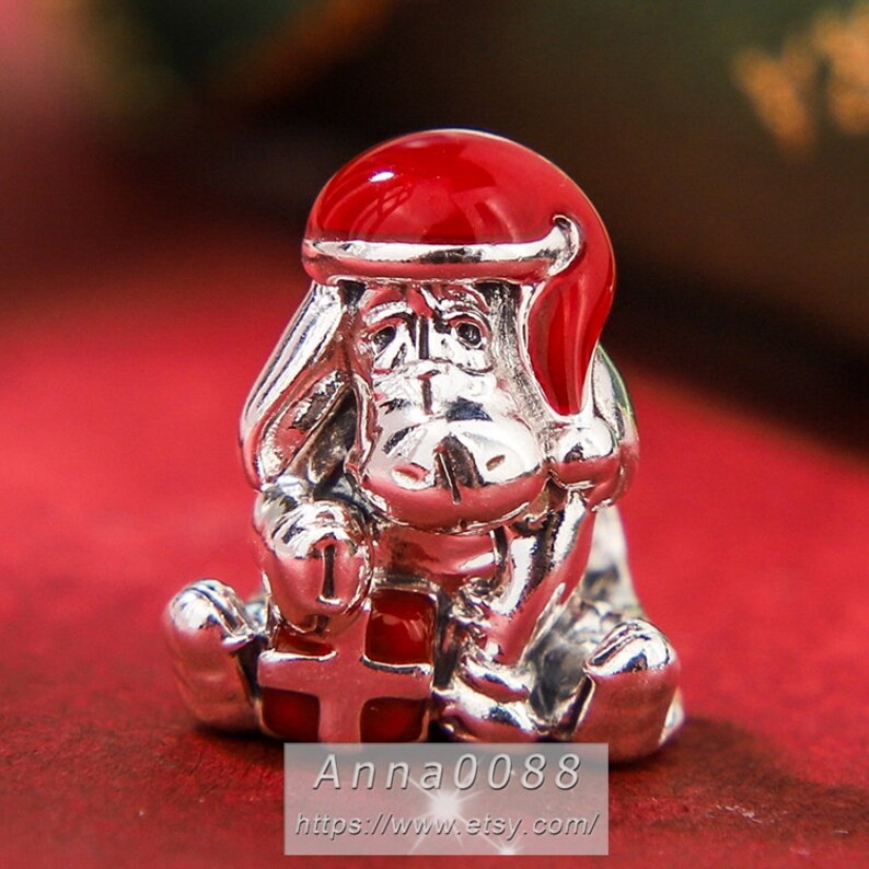 2019 Winter Collection Disn ey 925 Sterling Silver Eeyore Christmas Charm With Enamel Charm Fits All European DIY Bracelets Necklaces