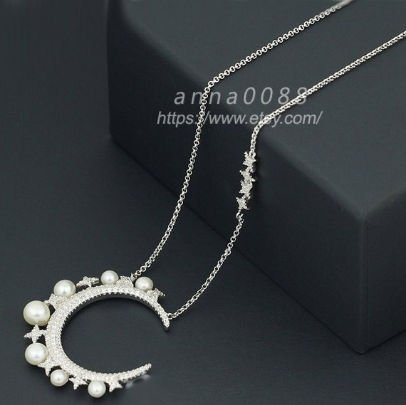 Monaco Fine Jewelry Sterling Silver Moon Necklace With Baby Pearls Necklace (adjustable length~65cm)