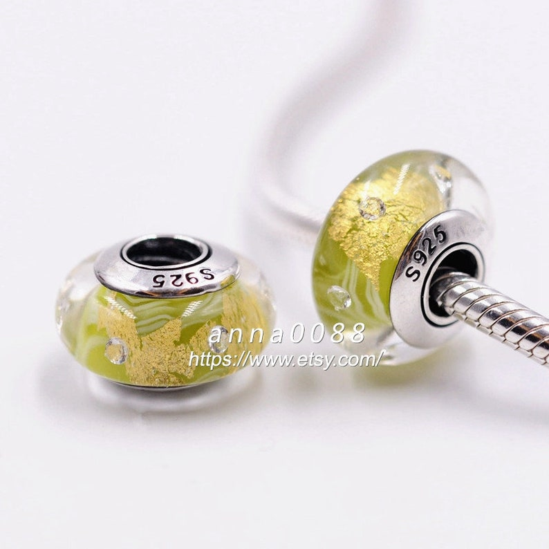 TOP 925 Sterling Silver Handmade Glass Shiny Yellow Green With Clear CZ Murano Glass Charm Beads Fits All European DIY Bracelets Necklaces