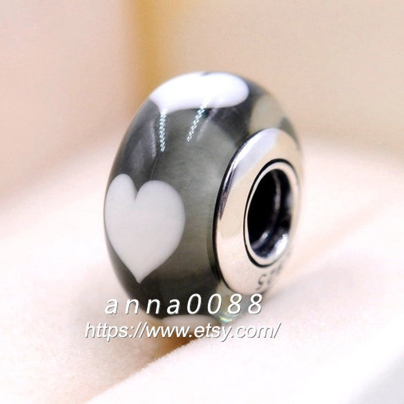 925 Sterling Silver Handmade Glass Ice Love White Heart Murano Glass Charm Beads Fits All European DIY Bracelets Necklaces
