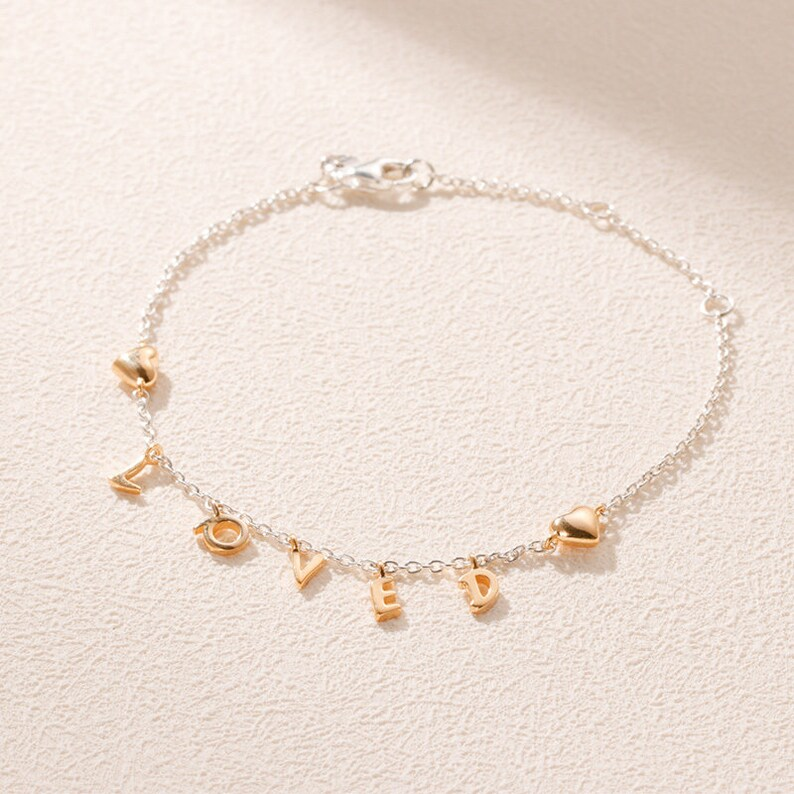 2019 Valentine Day Shine Collection 18K gold overlay Sterling Silver bracklet Loved Script Bracelet Woman Jewelry Size Adjustable