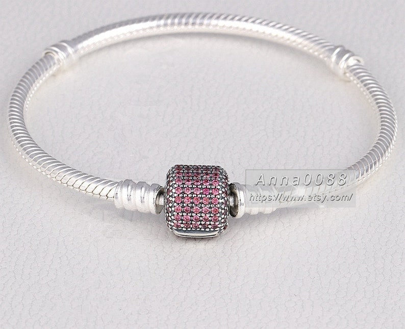 S925 Silver Signature Clasp with Fancy Pink CZ Snake Chain Classic Bracelet Fit DIY Jewelry European Charm Beads