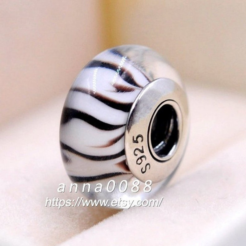 925 Sterling Silver Handmade Glass Lampwork Zebra Murano Glass Charm Beads Fits All European DIY Bracelets Necklaces