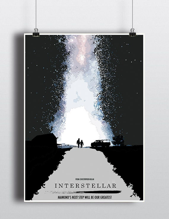 Interstellar Movie Poster You Can Include White Wood Frame Etsy