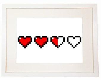 8 bit digital hearts - Wall Red