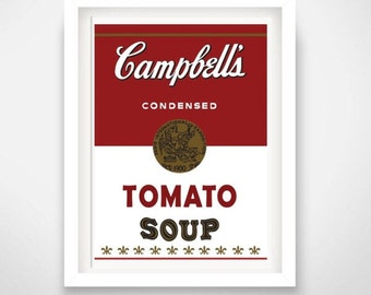 Modern art Warhol Campbells soup poster print- you can Include White Wood Frame - poster wall picture