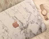 Marble MacBook Hard Case with Glitter Vinyl Logo | White Marble | Air 11 13 | Pro 13 15 | Retina | Touchbar