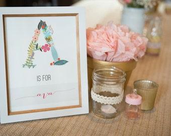 Initial Print, Customizable Art, Floral Alphabet, Custom Print, Art Print, Wall Art
