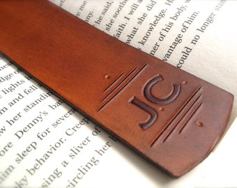 Personalized Initials Leather Bookmark - Custom Letters - Mother's Day Gift - Anniversary - Christmas Custom Leather Gift - Teacher Gift