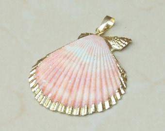 Shell pendants etsy large seashell 24k gold edge natural sea shell pendants scallop shell bead pendant gold edge 41mm x 45mm 3725 aloadofball Choice Image