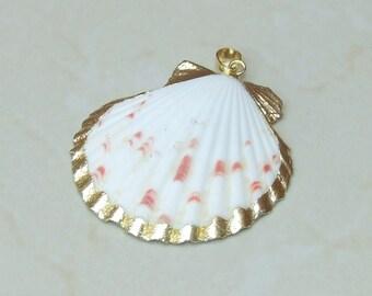 Shell pendants etsy large seashell 24k gold edge natural sea shell pendants scallop shell bead pendant gold edge 49mm x 49mm 3503 aloadofball Choice Image