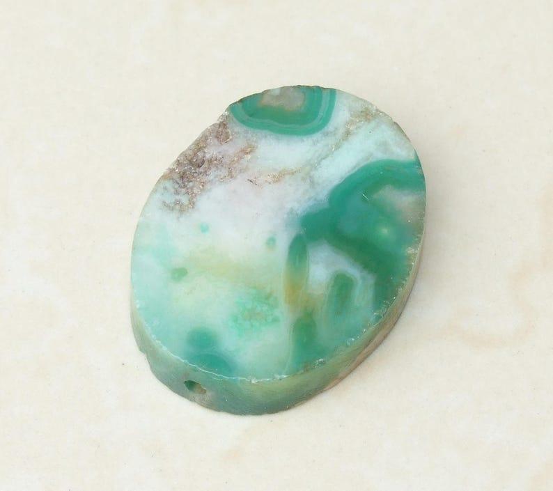 Blue Cherry Blossom Agate Bead Pendant Polished Agate Slab Stone  30mm x 40mm