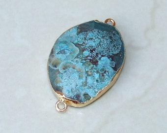 Ocean Jasper Connector.  Ocean Jasper Bead Faceted Stone Pendant - Druzy Pendant - Druzy Connector - Gemstone connector - 30mm x 40mm - 2467