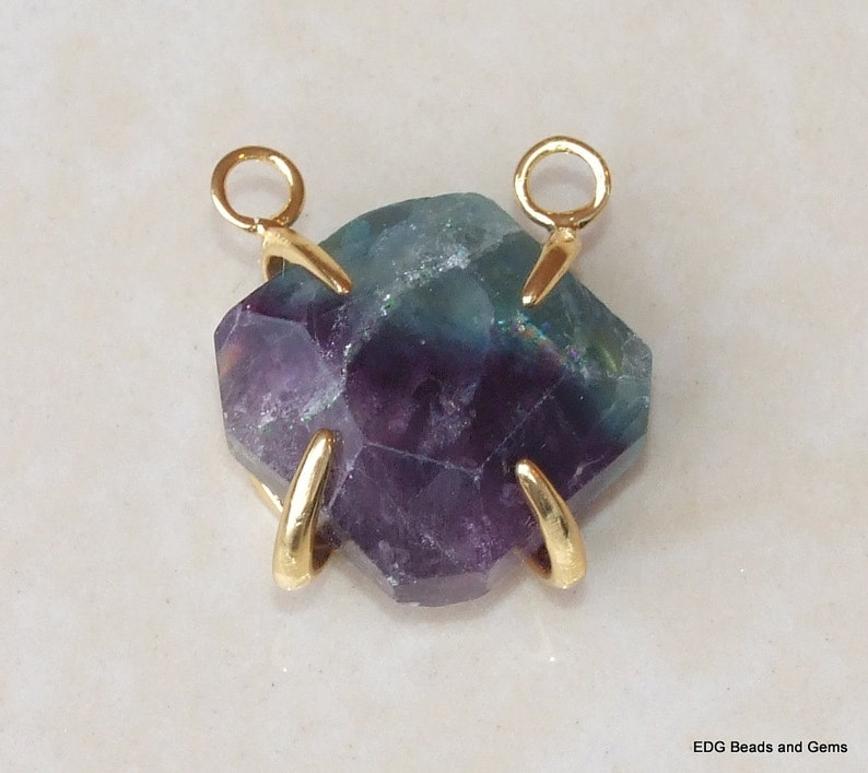 Faceted 3985 14K Gold Plated Cage and Two Loops Fluorite Pendants 22mm x 22mm Raw Purple Green Fluorite Pendant