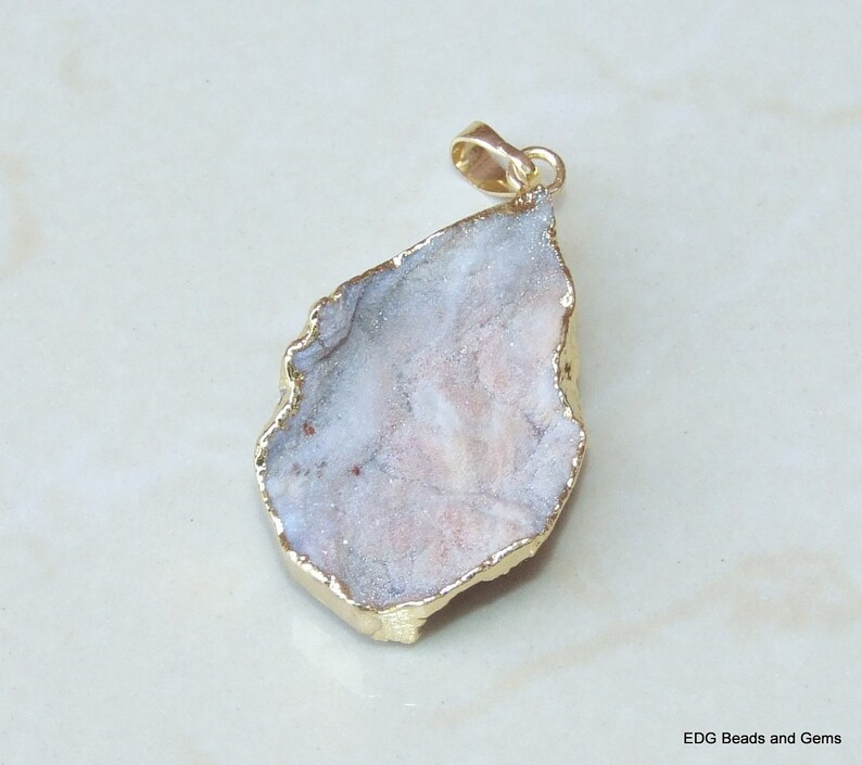 Gold Edge Agate Druzy Charm Gemstone Pendant Galaxy Stone Druzy Pendant Quartz Stone 26mm x 38mm Sun Agate 0613 Pendant