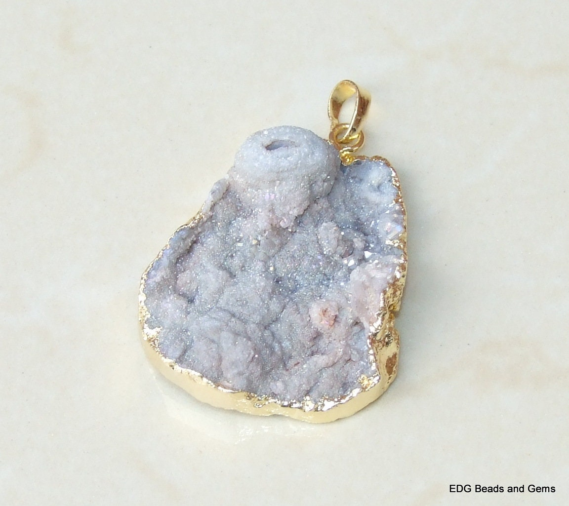 Gemstone Pendant Quartz 26mm x 38mm Galaxy Stone Druzy Pendant Charm Stone Pendant Sun Agate 0613 Gold Edge Agate Druzy