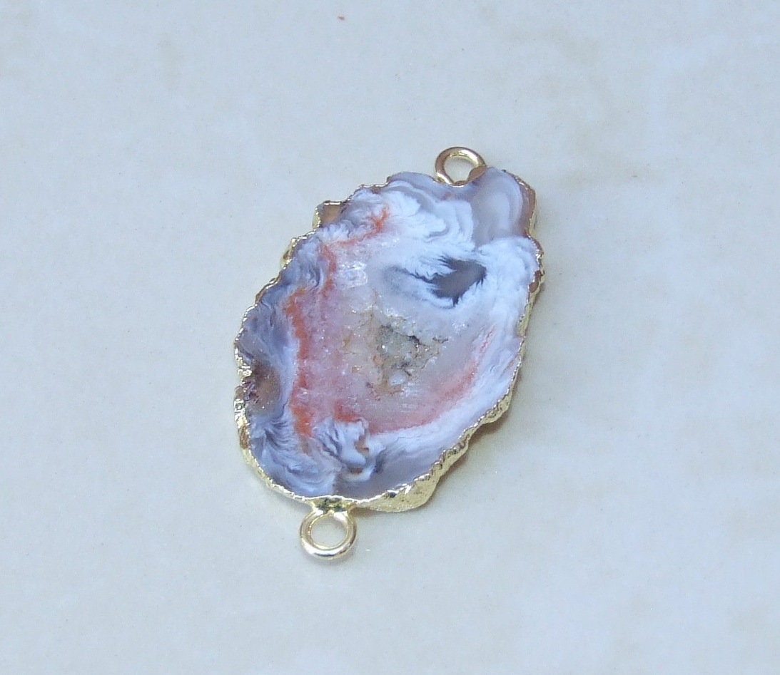 Gold Plated Geode Connector Dyed Geode Druzy Connector PG2614M Occo Agate Connector Stalactite Connector Oco Connector Pink