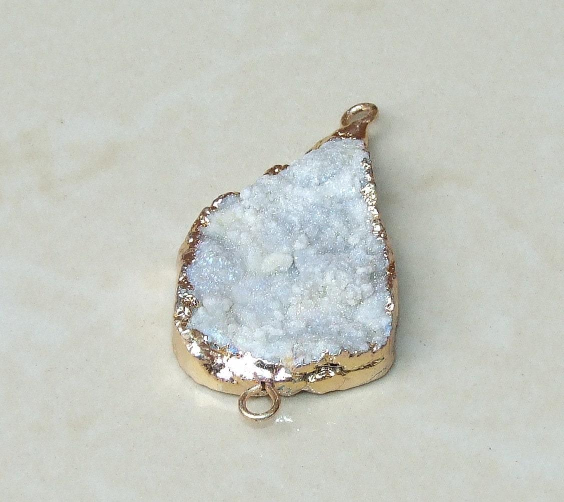 26mm x 37mm Sun Agate Connector Gemstone Connector Quartz Agate 8220 Gold Edge Gemstone Pendant Galaxy Stone Druzy Connector