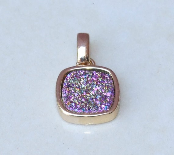 Necklace Pendant 24K Gold Plated 2 Pcs Druzy Pendant Pink Geode Agate Slice Druzy Pendant Electroplated Edge DP005