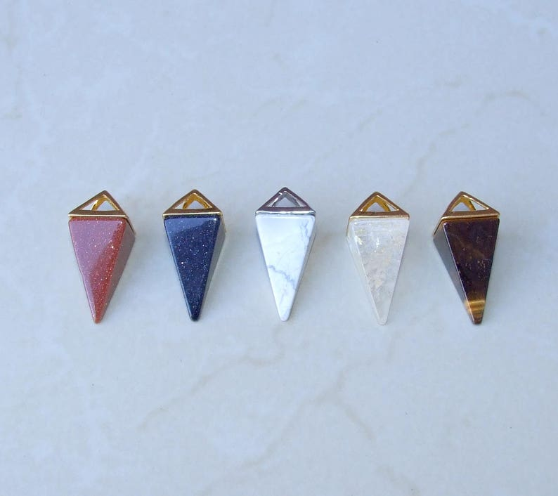 Gemstone Pyramid Pendant Quartz Point 15mm x 34mm Triangle Pendant Amethyst Pendant Pyramid Quartz Pendant