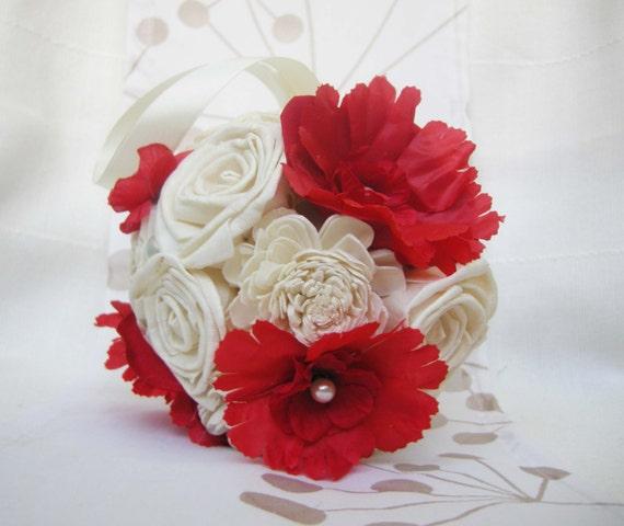 Kleine Kugel Rot Creme Rot Brautstrauss Hochzeit Blumen Sola Etsy