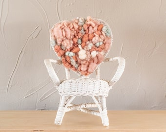 Hand Woven Wicker Heart White Chair Plant Stand