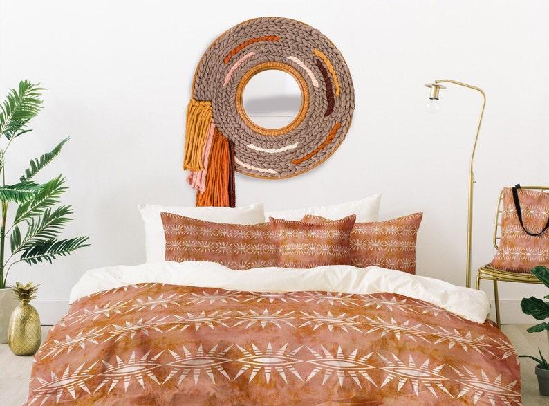 Hand Woven Rattan Mirror  Custom Listing   Boho Wall Hanging image 0