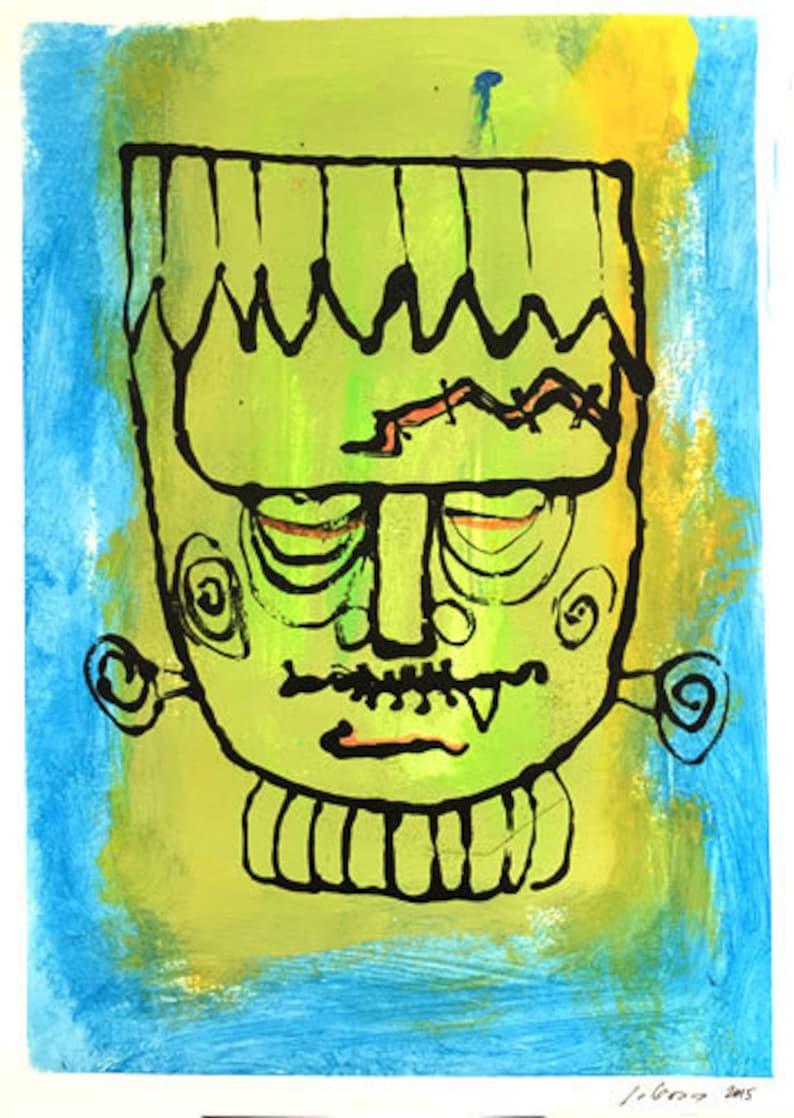 Halloween Frankenstein Monotype Print Art OOAK One of a Kind Signed