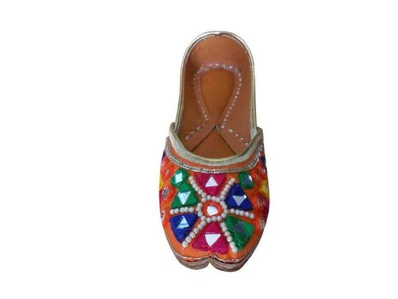 Kalra Creations Jutti Indian Wedding Women Shoes Designer Dabka Mojari Flip-Flops Flat