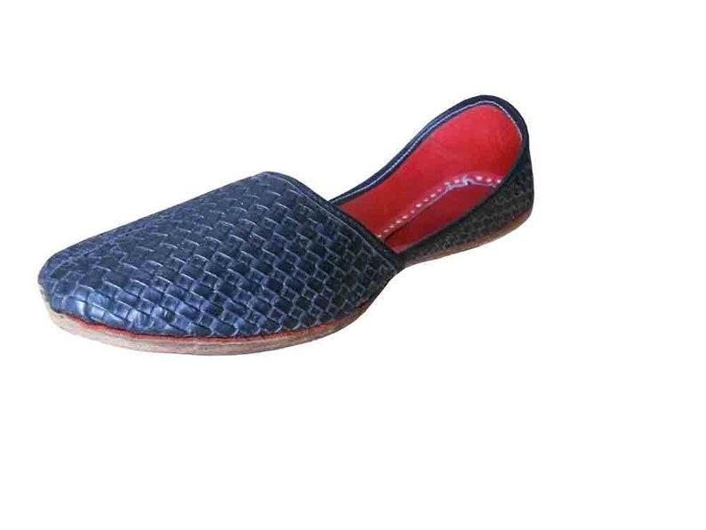Men Shoes Handmade Traditional Leather Indian Black Mojari Loafers /& Slip Ons Jutti
