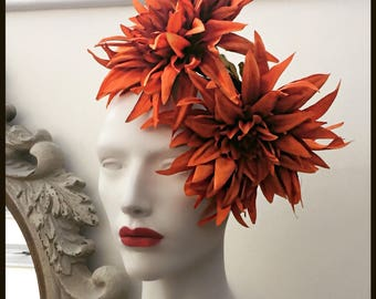 1cea1713ae978 Dahlia Fascinator  Rust Orange Fascinator 25
