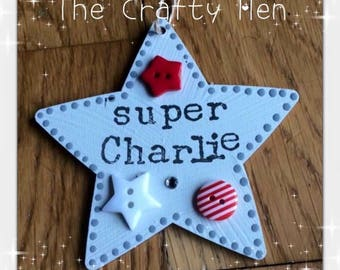 Wooden Stars - Hanging Decorations Personalised