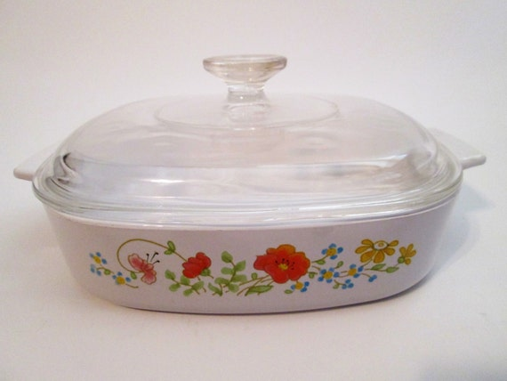 Vintage Corning Ware Casserole Dish A 8 B With Lid Wildflower Etsy