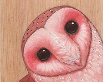 Pink Barn Owl of Calabasas on Wood ~ Original Painting by kat mcd