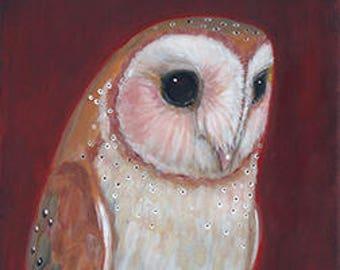 Standing Barn Owl on Wood ~ Original Painting by kat mcd