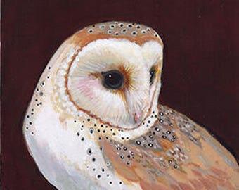 Barn Owl on board ~ Original Painting by kat mcd