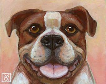 Pitfall Terrier Smiling on Masonite~ Original Painting by kat mcd