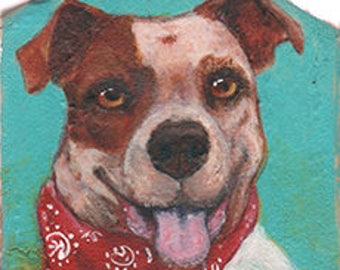 Pitbull Portrait 2 sided  on Wood ~ Original Painting by kat mcd