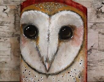 Rustic Barn Owl Original Painting on Wood by Kat McD