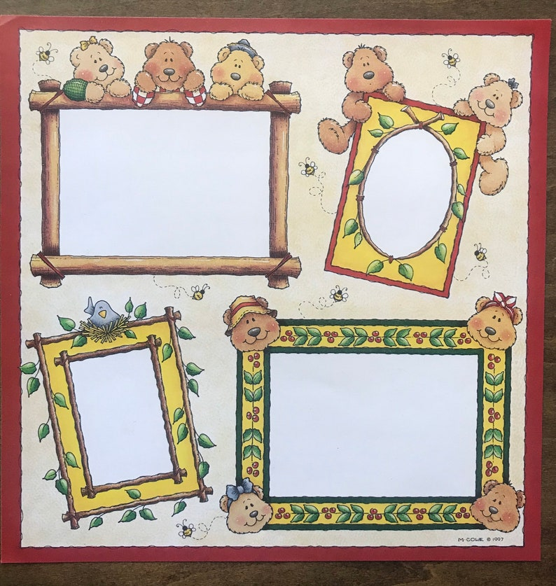 12x12 Bear Family Framed Page