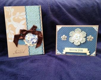 Elegant Brown/Blue Invitation Set