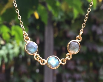 Triple Labradorite Round Bezel Set Gold Vermeil Pendant Necklace on a 14K Gold-Filled Chain - 18 inches