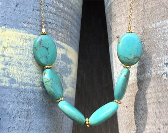 SALE >> Imitation Turquoise Ovals Necklace on a 14K Gold Filled Chain - 20 inches