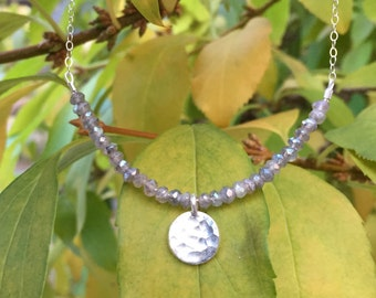SALE >> Mystic Labradorite Sterling Silver Moon Necklace on a Sterling Silver Chain - 18 inches