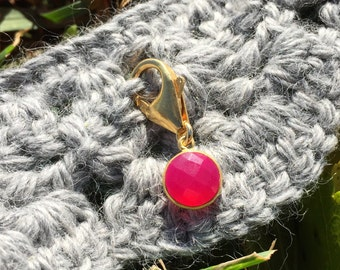 Progress Stitch Marker for Knitters and Crocheters - Hot Pink Chalcedony Bezel Set in Gold Vermeil // Use on all Yarn Weights up to Cat #6