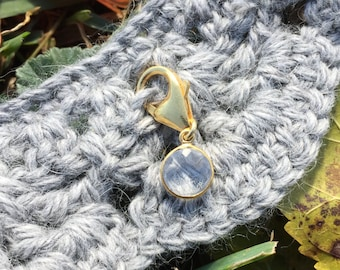 Progress Stitch Marker for Knitters and Crocheters - Quartz Bezel Set in Gold Vermeil // Use on all Yarn Weights up to Cat #6
